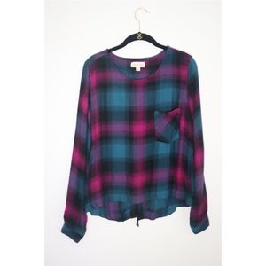 Cloth & Stone | Soft Plaid Top with Lace-up Back